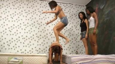 PONYGIRL / Pony Riding Extreme - 3 Top Model Girls Vs 1 Slave
