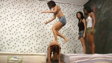 PONYGIRL / Pony Riding Extreme - 3 Top Model Girls Vs 1 Slave