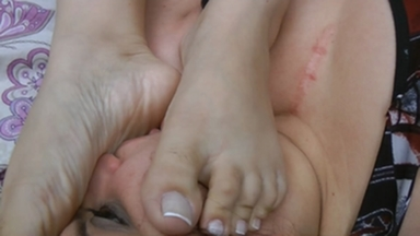 Feet Domination By Celine Lemos And The New Slave