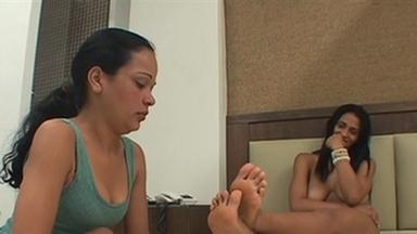 FOOT FETISH / Deep Feet And Lick - Karina And Slave Luana