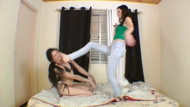 FIGHTING GIRLS / Feet Fight Violent Blows By Karina Cruel And Slave Karina Orion