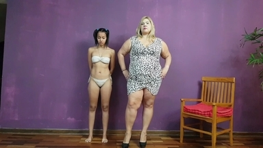 PONYGIRL /  Pony Play Extrem Fat 130 KG Vs Skinny Slave By Samantha Smith And Nina