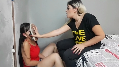 Black Socks Domination By Top Babe Caroline Dumont And Slave Drica